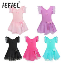 iEFiEL Kids Girls Tutu Ballet Dance Dress Leotard Child Girls Trainning Stage Performance Fancy Dancewear Costume Dress 2-12Y(China)