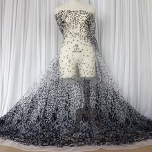 1 Meter High-grade Lace Grenadine Apparel Fabric Handmade Exquisite Wedding Dress Net Yarn DIY Embroidery Window Screen Material