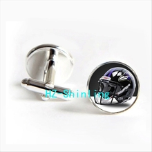 2017 wholesale Baltimore Ravens Team Helmet Cufflinks American Football Helmet Cuff link Round Cufflinks Silver(China)