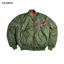 Aolamegs Men Bomber Jacket Thick Winter Military Motorcycle Ma-1 Flight Jacket Pilot Air Force Flying Jackets Baseball Uniform