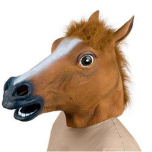 Creepy Horse Head Mask Latex Animal Costume Prop Toys Party Halloween LH8s