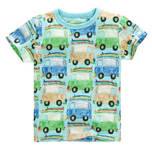 Excellent Boys T shirt Cartoon Car 2016 Cotton Tops O Neck Kids Short Sleeve Colorful Boys Clothes Baby Children Summer Clothing