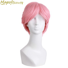 "Short Curly Cosplay Wig Men's Pink 10"" Natural Synthetic Hair Heat Resistant Halloween Fake Hair Bangs Hairpieces MapofBeauty(China)"