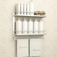 Modern Space Aluminum 2-layer Corner Basket Silver Anodic Oxidation Fineshed Cosmetic Shelf Towel Rack Bathroom Products Oi12
