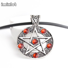 imixlot Five-pointed star Necklaces Pendants Satan Sign Imitation Diamonds Necklce Pendant Pentagram Long Necklace Fashion Jewel