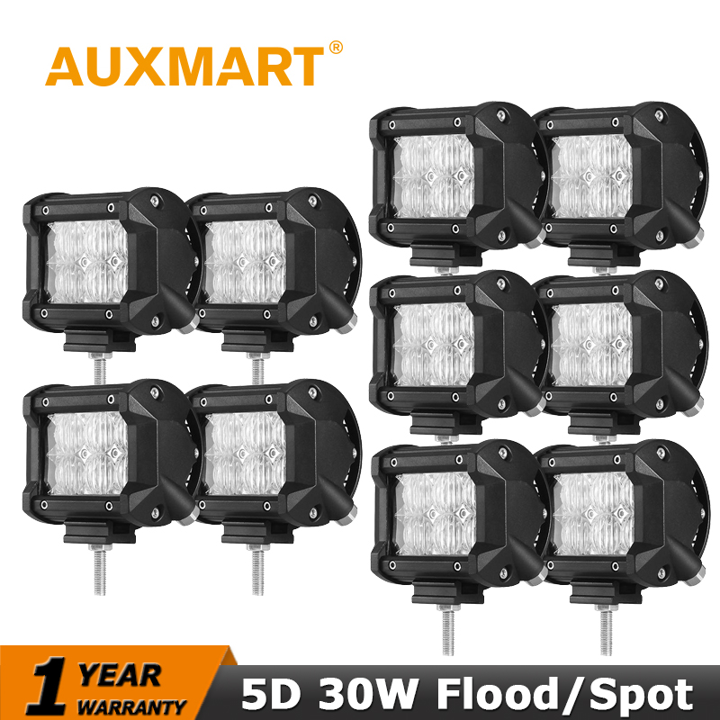 Auxmart 4 inch CREE Chips Led Work Light 30W LED Driving Offroad Light Bar Spot/Flood 4WD ATV UTV Trucks 4x4 6x5W led fog lamp<br><br>Aliexpress