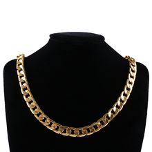1 Pcs New Men Luxury Gold Color Necklace 10mm 24 inches Cuban Curb Chain Necklace Jewelry(China)