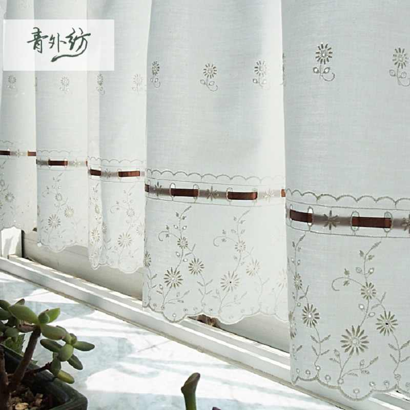 Free shipping Pastoral cotton flower embroidery coffee short curtain kitchen curtains for living room bedroom 100*45&150*45/75cm