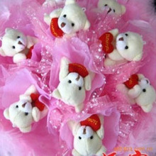 5CM,Mini Size,Soft Plush Toy Bear With Heart For Wedding Bouquet Parts,60PCS/LOT,Free Shipping, 3 colors to choose  t
