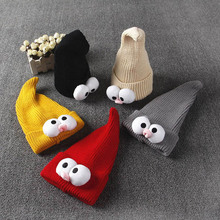 1PC Cartoon Baby Beanie Winter Hat with Big Eyes for Girls Boys Warm Knit Children's Hats(China)