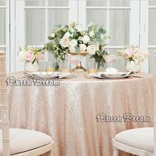 50'' Round champagne Sequin Tablecloth Glitz Sequined Table Linen For Weddings Sequin Tablecloth Sparkly Bling Tablecloths