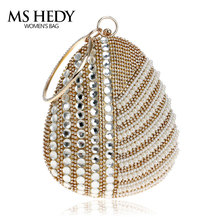 Ring Bracelet Rhinestone Handbag Ctystal Rhinestone Beaded Single Side Purse For Party Women Bridal Wedding Egg Shape Bag New(China)