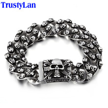 TrustyLan Aliexpress Men Bracelet Stainless Steel Skull Links Chain Bracelet Men's Bracelets Jewellery Pulseras Hombre Express(China)
