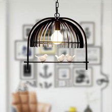 Bedroom dining room cafe restaurant bar corridor pendant lamp American country bird cage Chandelier,Mediterranean droplight(China)