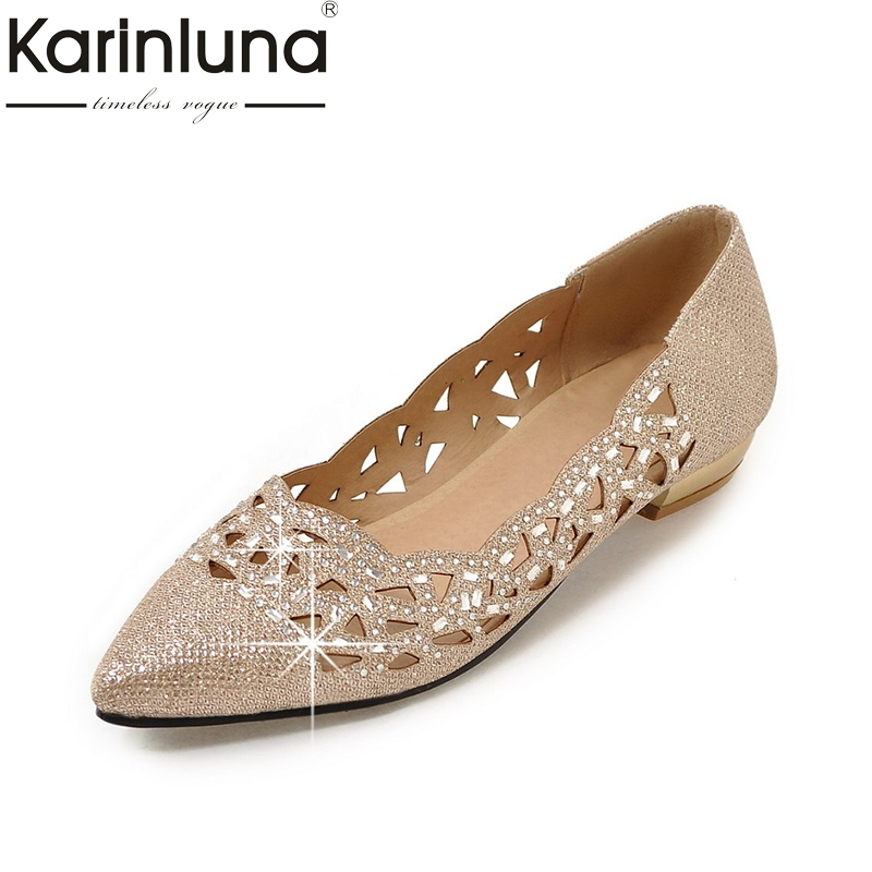 karinluna large size 34-47 pointed toe bling upper women shoes woman fashion cut outs comfotable spring sandals woman<br>