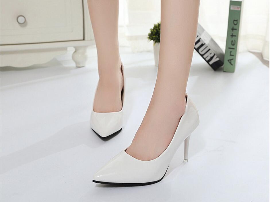 2018 Femmes Chaussures Bout Pointu Pompes En Cuir Verni Chaussures Habillées Talons hauts 38