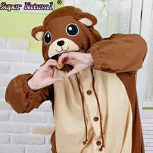 HKSNG US Brown Teddy Bear Winter Cartoon Footed Animal Adult Women Pajamas Onesie Cosplay Pyjamas Sleepwear Halloween