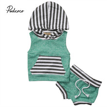Pudcoco Summer Baby Boys Girls Fashion Clothes Set 2 piece Hoodie Top Short Pant Striped Green Sleeveless Clothing Set