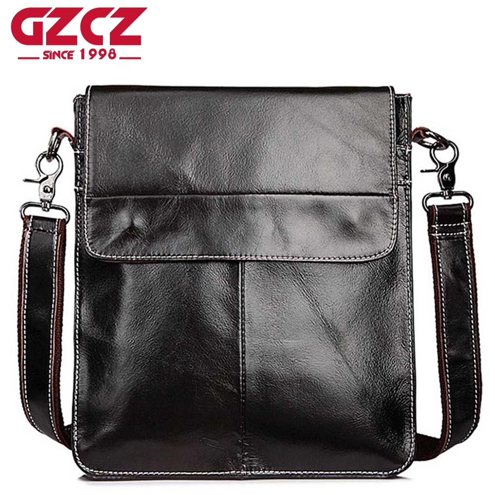 GZCZ Genuine Cowhide Leather Bags Casual Men Crossbody Bag Mens Travel Bags Black Soft Flap Briefcase Messenger Bags for Man<br>