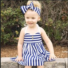 Summer Stripe Baby Girls Dress 2017 New Fashion Children Sleeveless Belt Dresses Clothing With Hairband for Kids Sundress 2-5Y