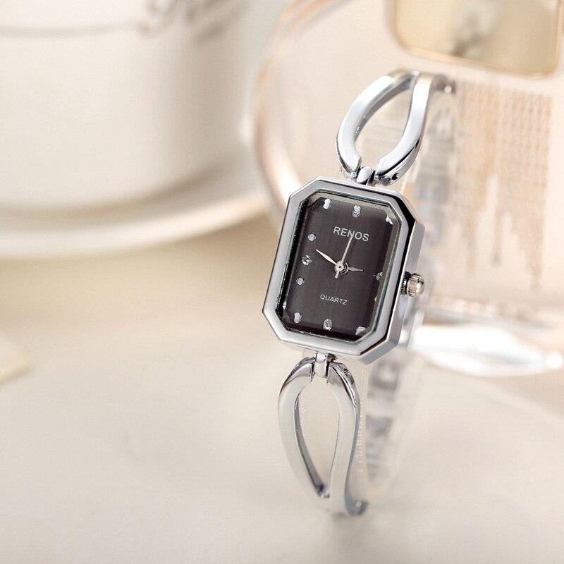RENOS Quartz Watch Women Fashion Casual Rectangle Case Simple Skeleton Bracelet Watch Stainless Steel Wristwatch reloj mujer<br><br>Aliexpress