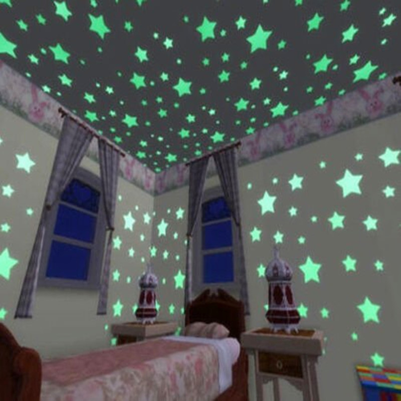 100PCS/Set 3Colors Glow Wall Stickers Decal Baby Kids Bedroom Home Decor Color Stars Luminous Fluorescent(China (Mainland))