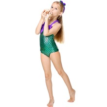 2-7Y Baby Girls One-piece Mermaid Girl Costume Fashion Summer Swimming Suit Bikini Bathing Suit Shimmery Green Fish Scale Color