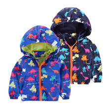 New Cartoon Jackets Spring 2017 Kids Baby BoysToddler Boys and Girls  Hooded Wear Outdoor Coat Zipper Children Jackets Dinosaur