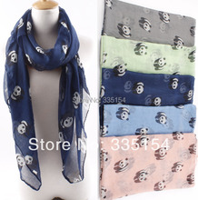2015 Latest Chinese Cute Panda Print Scarf Animal Pattern Cotton Voile Shawls Wraps Hijabs 5Colors 10pcs/lot(China)