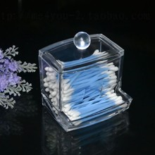 Design Clear Acrylic Cotton Swab Box Q-tip Storage Holder Cosmetic Makeup tool Women Storage Case