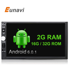 Eunavi 7 inch touch screen 2 din car gps Android 6.0 2G RAM universal 2din car radio multimedia with WIFI+GPS+Bluetooth+1024*600