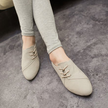 Casual Women Shoes Women Nubuck Leather lace-Up Flat Shoes Handsome Head Toe Shoes, Big size 2015 Hot Selling Spring