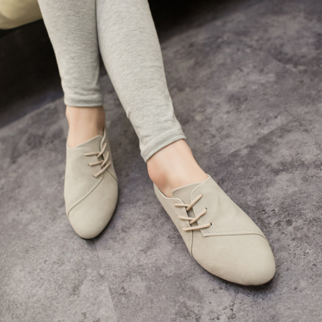 Casual Women Shoes Women Nubuck Leather lace-Up Flat Shoes Handsome Head Toe Shoes, Big size 2015 Hot Selling Spring<br><br>Aliexpress