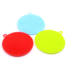 Silicone sponge dish Mini Dish Washing rush Sponge Fruit Vegetable Scrubber Pot Pan Brush Non Stick Oil sponge For Kitchen