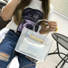 High quality cute plastic bags transparent clear clutch candy color handbag purse women small PVC combined leather bag Satchel