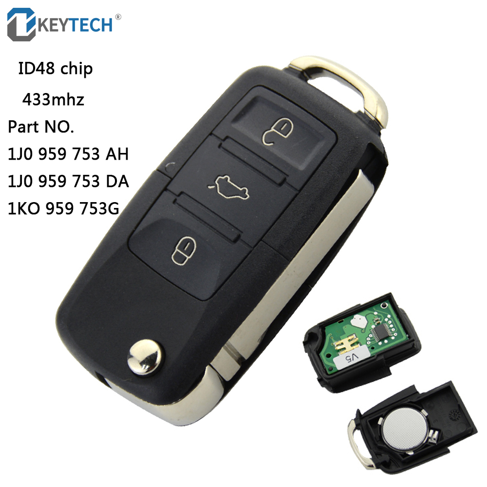 3 Button Remote Key with Blank Blade ID48 CHIP 1J0 959 753 DA For VW SKODA