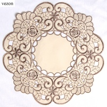 vezon New Hot Round Elegant Polyester Floral Solid Color Embroidery Placemat Delicate Tablecloth Embroidered Tissue Box Covers