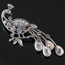 Fashion charms peacock brooches for vintage rhinestone crystal pin for women antique silver-color jewelry accesspries B1209