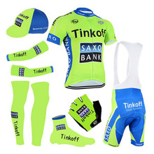 Full sublimation Green saxo bank cycling wear team thinkoff Cycling jersey gel shorts suit  bike team For Man design jersey
