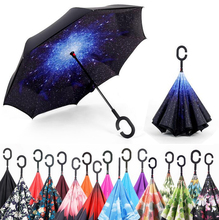 dropshipping Windproof Reverse Folding Double Layer Inverted Self Stand Umbrella rain/sun women/men high quality f(China)