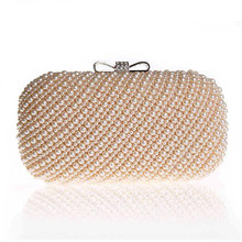 Pearls bowknot Rings clutch purses 2016 women white Evening bags party handbag chains shoulder bag Full Sided Beades bolsas(China)