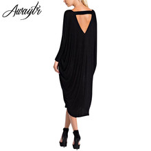 Buy Awaytr Women V Neck Loose Dress Fashion Super Big Batwing Sleeve Casual Spring Autumn Maxi Long Dress Vestidos One Size for $12.39 in AliExpress store