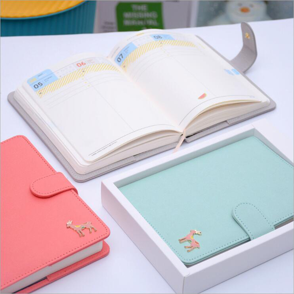 Creative Korean Faux Leather Deer 2017 Macaroon Planner Cute Student's Monthly Weekly Plan's Notebook Diary Organizer Journals(China)