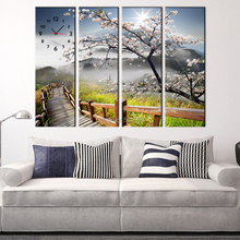 Free Shipping Art Print Cherry Blossoms And Wood Road Clock in Canvas 4pcs wall clock(China)