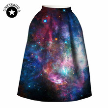 5 styles! Women High Waist  skirt 3D galaxy space print Pleated sexy Skirt Skater Vintage A-line  Elegant Style evening party