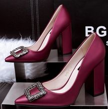 Size 4~8 Elegant Purple Women Shoes Party Wedding Newest High Heels Shoes Women Pumps zapatos mujer (Check Foot Length)