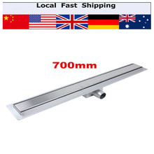1Pcs Stainless Steel Linear Long Shower Grate Bathroom Channel Tile Drains Bathroom Floor Drain 700MM(China)