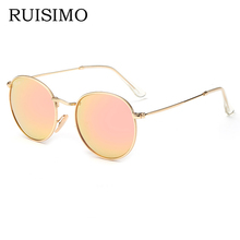 Pink classic Round Sunglasses Women men female brand Metal Frames Mirror Lenses Sun Glasses For women retro Male oculos de sol