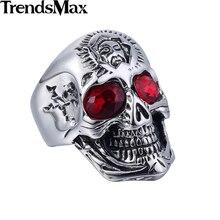 Trendsmax нержавеющей стали 316l череп кольцо диапазона красный стразы модные мужские кольца ювелирные изделия hr398