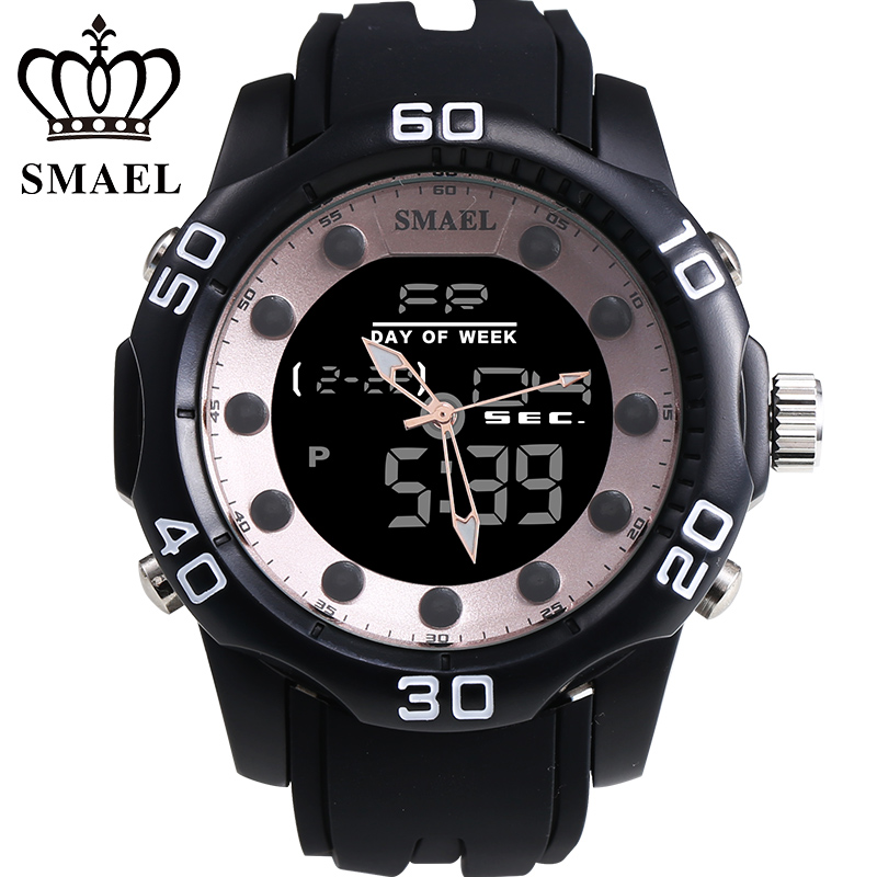 2017 Fashion Brand SMAEL Dual Display Men Watch Montre Casual Outdoor Waterproof Sports Digital Watches Relogio Masculino  <br>